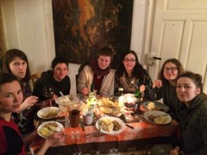 Our international group all enjoying Haggis, tatties and neeps!